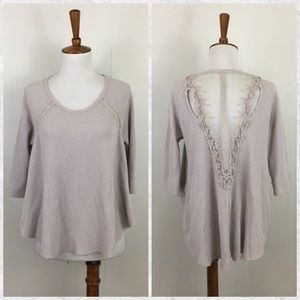 Free People 3/4 Sleeve Lace Back Thermal